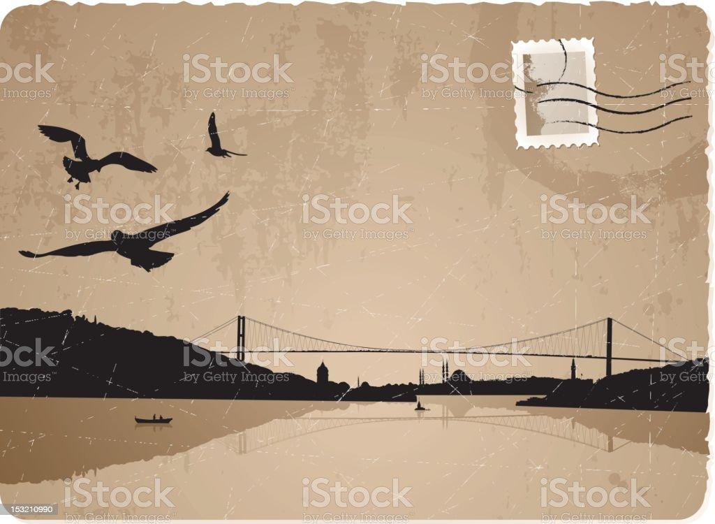 Vintage Istanbul postcard vector art illustration