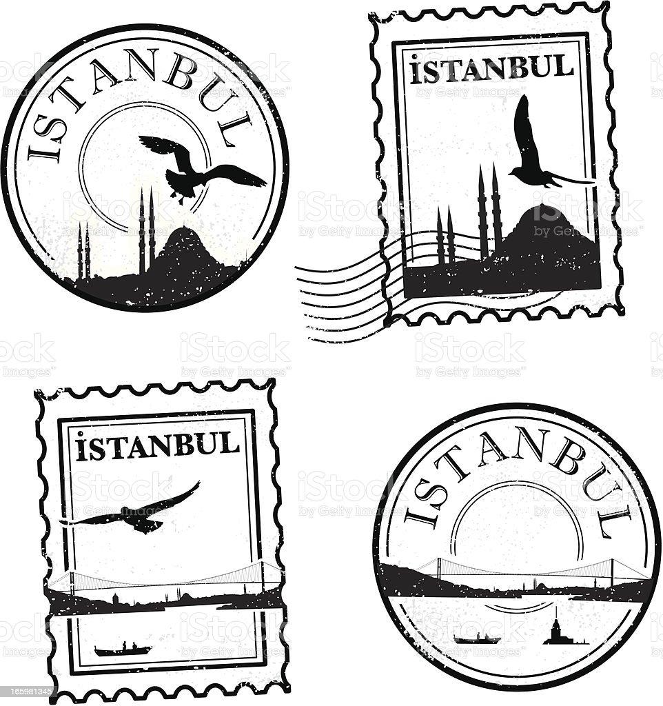 Vintage Istanbul stamps vector art illustration