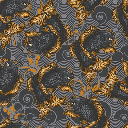 Vintage japanese sea seamless pattern