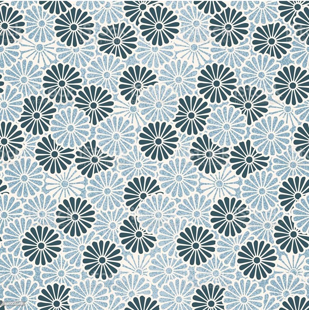 Vintage Japanese seamless flower pattern vector art illustration