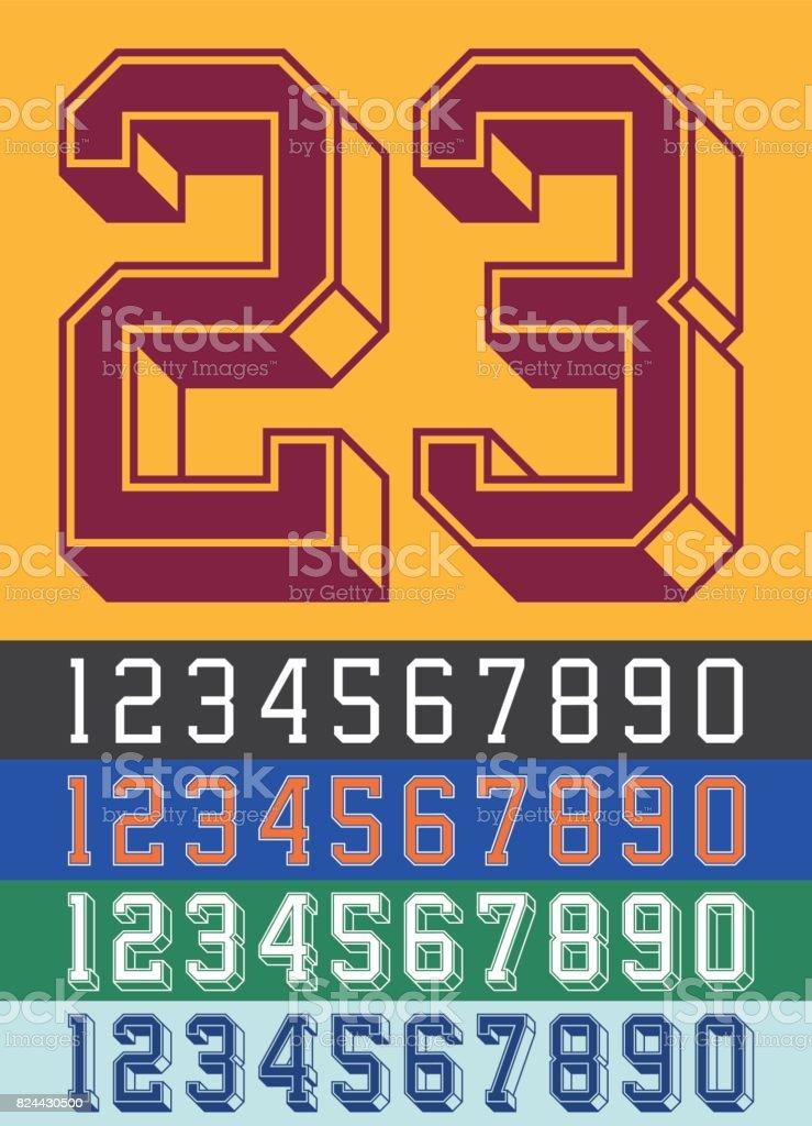 Vintage Jersey font numbers vector art illustration