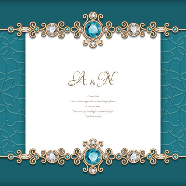 Marco de la vendimia de la joyería con diamantes y Esmeraldas - ilustración de arte vectorial