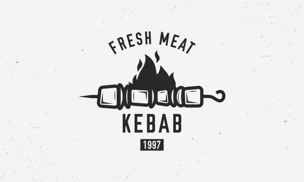 vintage kebab-logo-vorlage. kebab oder schaschlik auf spieß mit feuerflamme isoliert auf weißem hintergrund. vektor-illustration - döner stock-grafiken, -clipart, -cartoons und -symbole