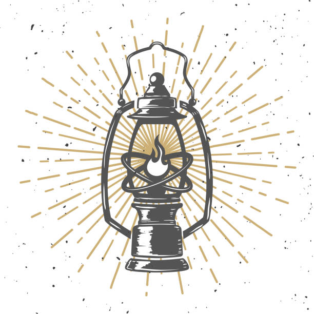 Vintage kerosene lamp with light lines. Design element for poster, greeting card, banner. Vector illustration Vintage kerosene lamp with light lines. Design element for poster, greeting card, banner. Vector illustration lantern stock illustrations