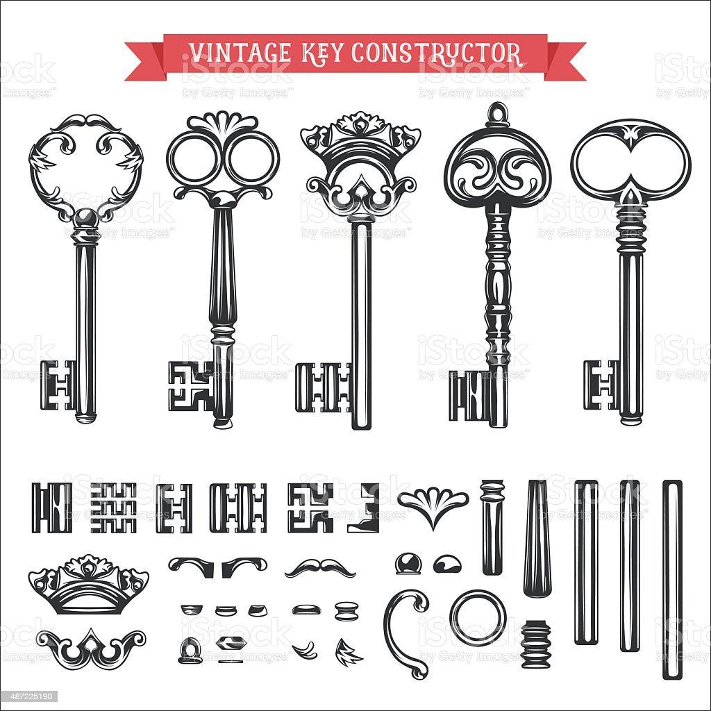 Vintage key constructor. vector art illustration