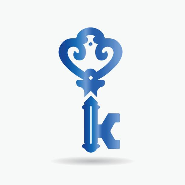 Vintage Key Vector Company Symbol with Letter K monogram. Vintage Key Vector Company Symbol with Letter K monogram. k logo stock illustrations