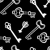 Vintage key vector seamless pattern. Keys in hand draw style. Black and white.