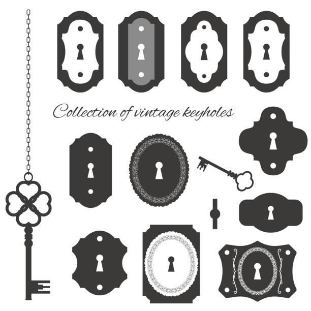 Vintage keyholes and keys set. Vintage keyholes and keys set isolated on white. keyhole stock illustrations