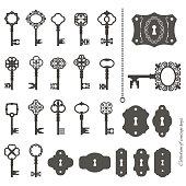 Vintage keys and keyholes big set.
