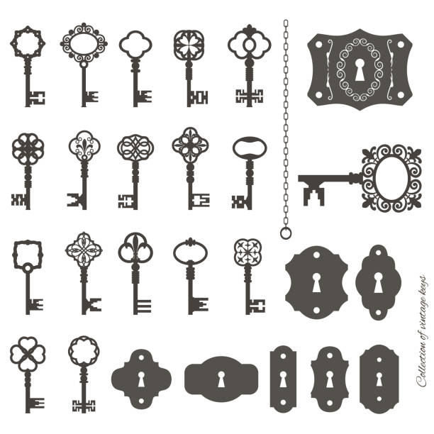 Vintage keys and keyholes big set. Collection of vintage keys and keyhole isolated on white. Chain can easily be combined with any key. keyhole stock illustrations