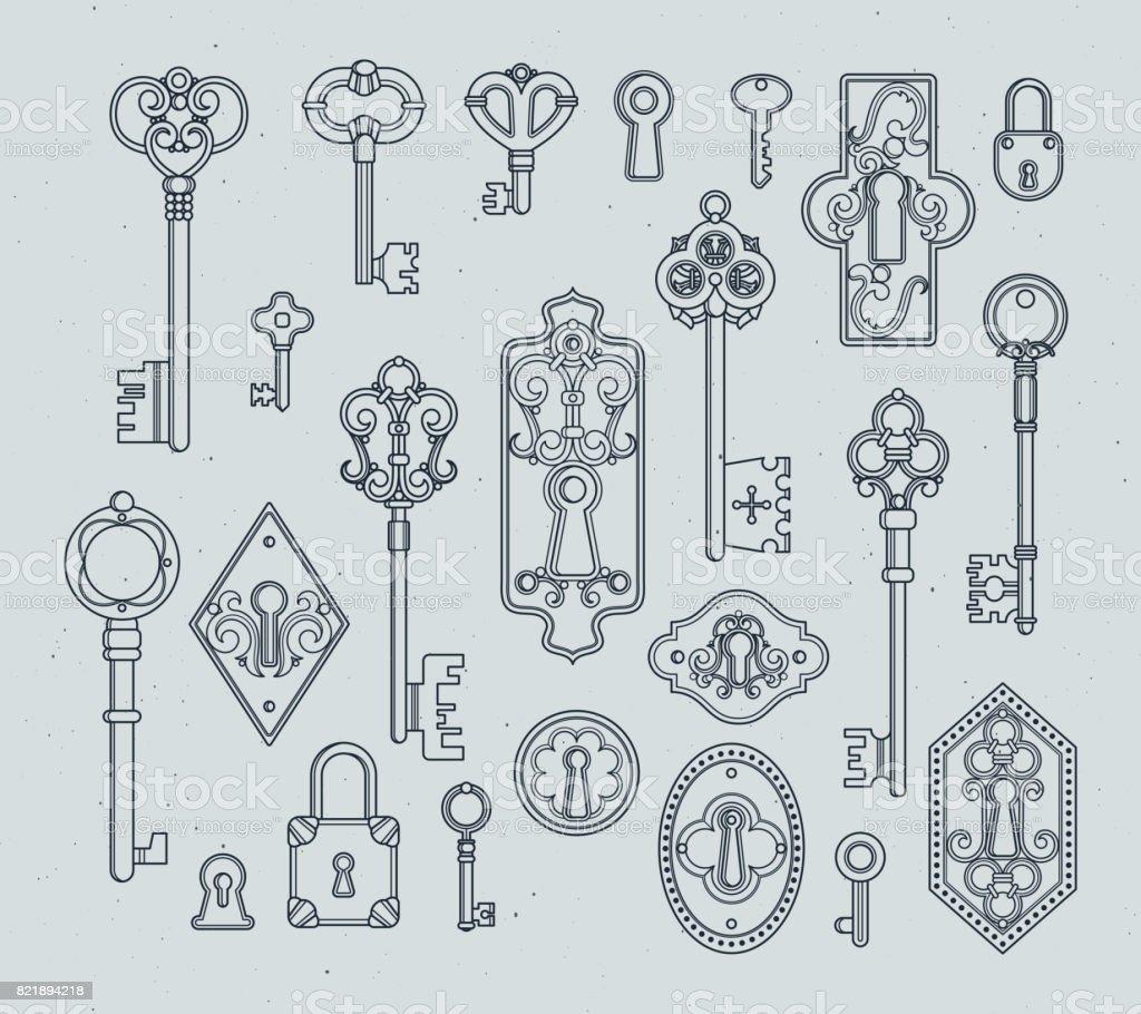 Ilustración de Vintage Llaves Y Candados Para Las Puertas Medievales ...