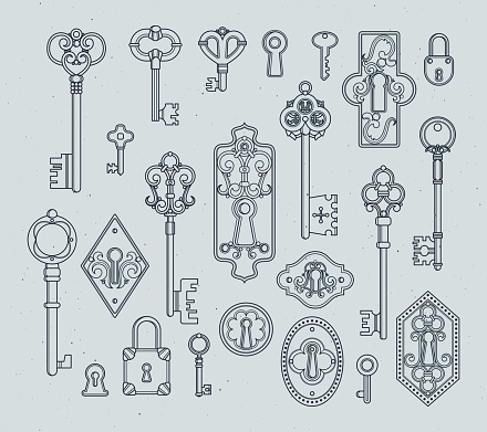 Vintage keys and padlocks for medieval doors. Hand drawn vector illustrations