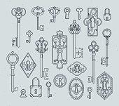 Vintage keys and padlocks for medieval doors. Hand drawn vector illustrations. Antique key vintage in victorian style decoration