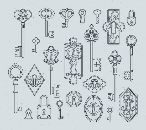 Vintage keys and padlocks for medieval doors. Hand drawn vector illustrations Vintage keys and padlocks for medieval doors. Hand drawn vector illustrations. Antique key vintage in victorian style decoration keyhole stock illustrations