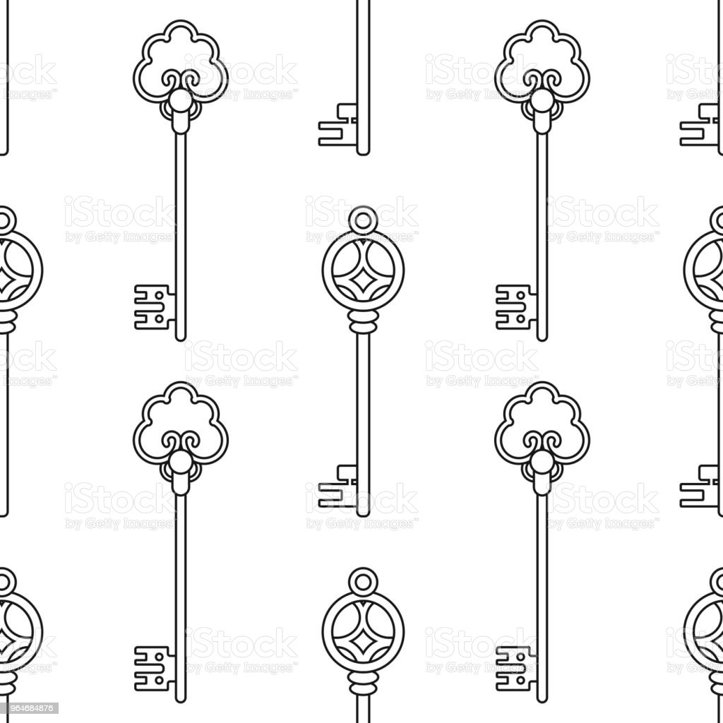 Vintage keys. Black and white seamless pattern for coloring books, pages. Vector royalty-free vintage keys black and white seamless pattern for coloring books pages vector stock vector art & more images of antique