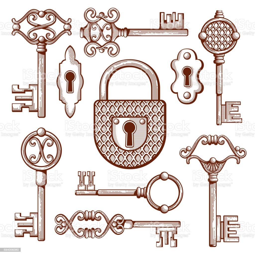 Vector Key Illustration: Vintage Keys Locks And Padlocks Hand Drawn Vector
