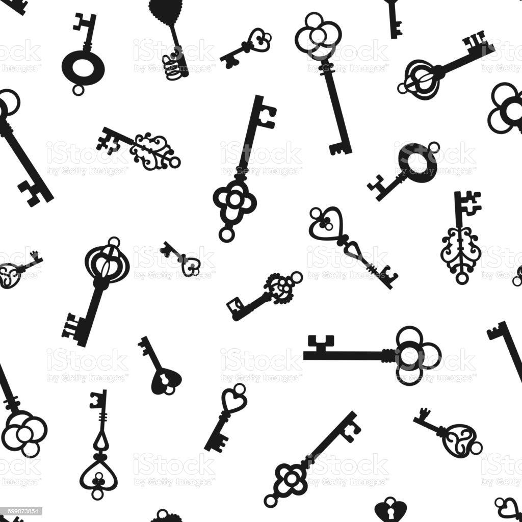 Vintage keys on  white background vector art illustration