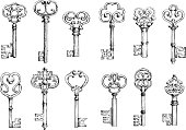 Vintage keys sketches in engraving style
