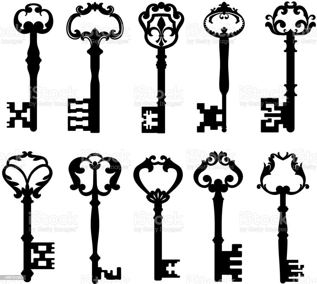 Vintage keys vector art illustration
