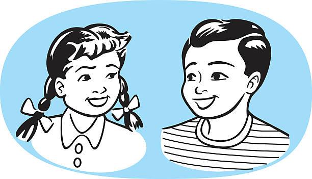 Vintage Kids vector art illustration