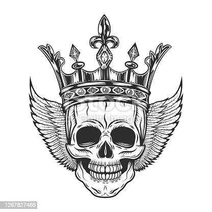 istock Vintage king prince skull in crown with wings monochrome isolated vector illustration 1267827465