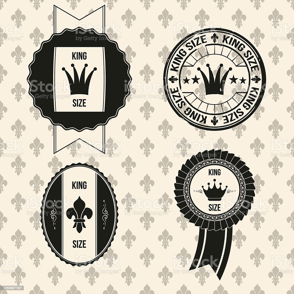 vintage king size badges vector art illustration