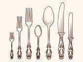 Vintage kitchen cutlery objects sketch
