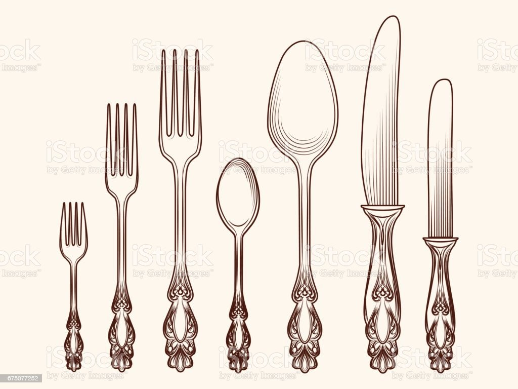 Vintage kitchen cutlery objects sketch vector art illustration