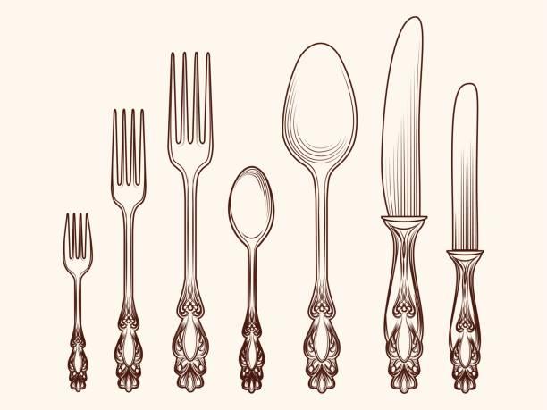 Vintage Küche Besteck Objekte Skizze – Vektorgrafik