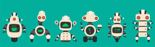 ilustraciones, imágenes clip art, dibujos animados e iconos de stock de colección de robots de cocina vintage. - busy restaurant kitchen