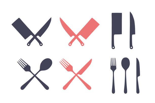 stockillustraties, clipart, cartoons en iconen met vintage keuken set. set van vlees snijden mes, vork, lepel - keukenmes