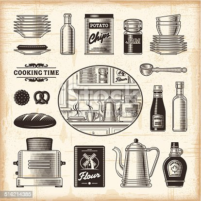 A set of fully editable vintage kitchen elements in woodcut style. EPS10 vector illustration with clipping mask. Includes high resolution JPG.