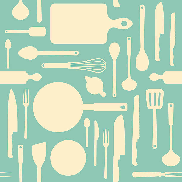 Vintage kitchen tools pattern Vintage kitchen and cooking tools seamless pattern with kitchenware equipment on light blue background cooking patterns stock illustrations