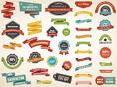 Vector illustration set of vintage label banner tag sticker badge vector design elements. No mesh or transparencies.
