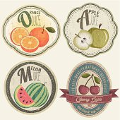 Vintage Label Collection with Fruit illustrations.