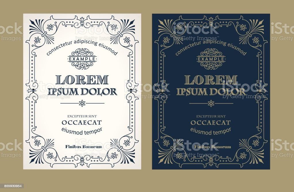 Vintage label design set with an example of your text vector art illustration