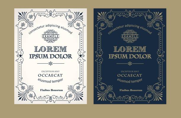vintage label design set with an example of your text - alphabet borders stock illustrations