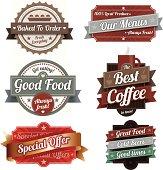 A set of six label designs.