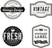 Set of vintage labels and design elements. Each design is grouped for easy editing.  Download includes zipped AI file with unexpanded text which can be edited.