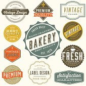 Set of colorful vintage labels and design elements. Each design is grouped and colors are global for easy editing.