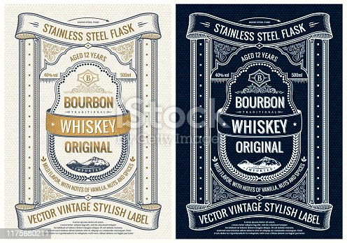 Vintage label for bottle, packing or book cover design. Vector unique and Inspiring layout old card. Cover template with frame and decorative elements