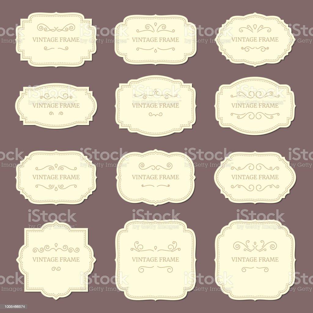 Vintage Label Frames Old Ornamental Labels Fashion Product