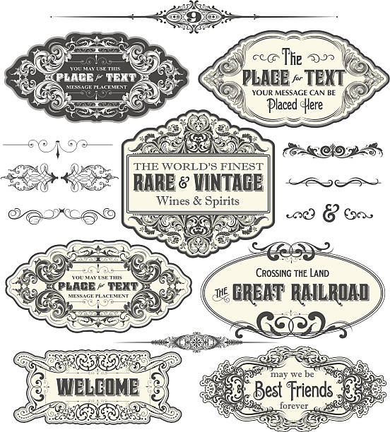 vintage label frames - art nouveau stock illustrations, clip art, cartoons, & icons