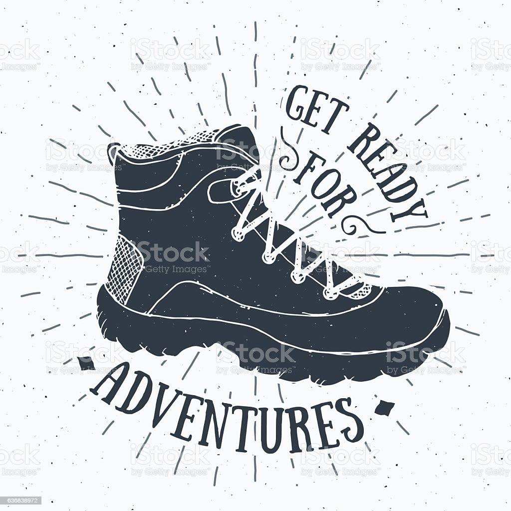 Vintage label, grunge Handdrawn retro hiking shoe, trekking boot vector vector art illustration
