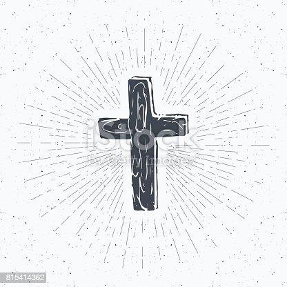 Vintage label, Hand drawn Christian cross, religious sign, crucifix symbol grunge textured retro badge, typography design t-shirt print, vector illustration
