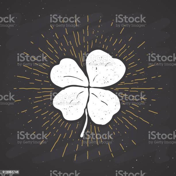 Vintage label hand drawn lucky four leaf clover happy saint patricks vector id919963748?b=1&k=6&m=919963748&s=612x612&h=8zannxcpla7pykqbqbm5nhfsvr1dk5nw4ikui hwkyc=