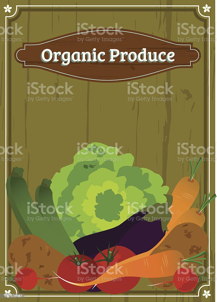 vintage label organic produce vegetables vector art illustration