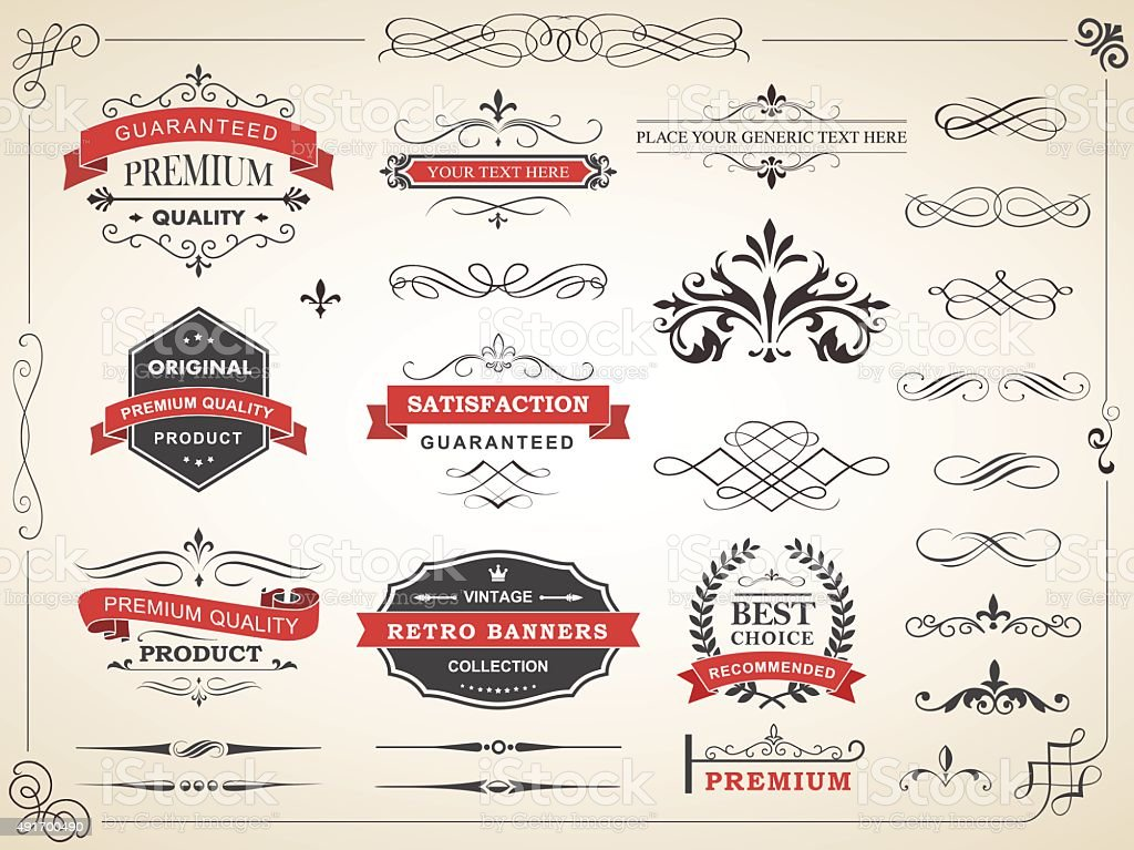 Vintage Label Ornament Divider Vector vector art illustration