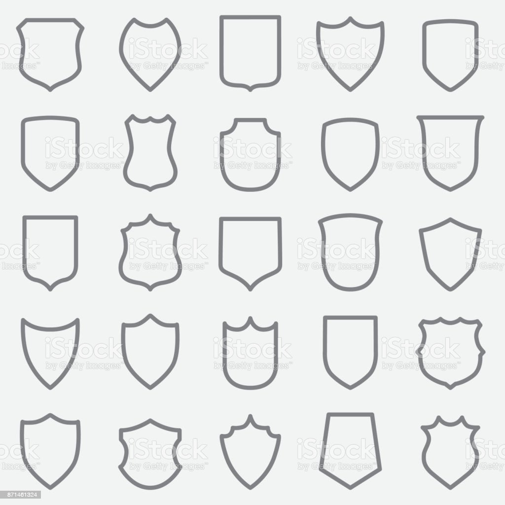 Vintage Label Outline Icons vector art illustration