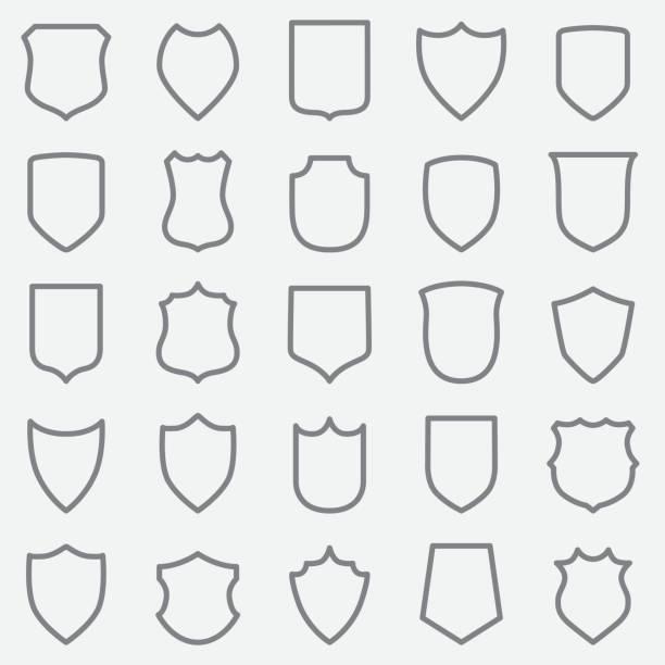 Vintage Label Outline Icons Vintage Label Out Line Icons shield stock illustrations